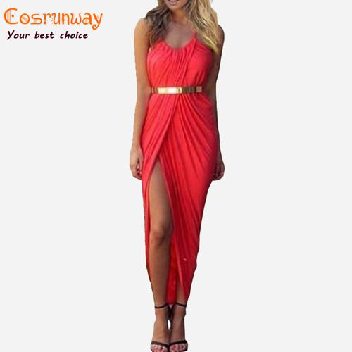 Wholesale-New 2015 Summer Women Neon Asymmetry Slit Beach Dress Ladies Black,White,Red Party Evening Maxi Dresses Sexy Club Vest Dress