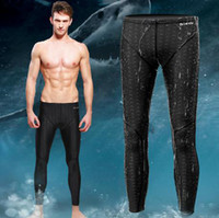 Wholesale Boys Swim Pants - Wholesale-professional Long swimming pants men fall winter boys shark skin,bathing swimwear,,wet suit,diving Pants Quick rashguard pants