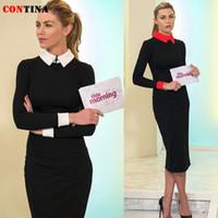 sevimli giyinmiş toptan satış-Toptan-Kış Elbise 2015 Kadınlar Ofisi Uzun Elbise Artı Boyutu Zarif Lady Sevimli Kısa S M L XL XXL Moda Uzun Kollu Elbiseler