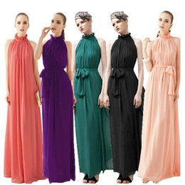 Wholesale Women S Cloths - Wholesale-8 Colors Summer Maxi Long Casual Summer Beach Party Chiffon Dress Stand Collar Ruffles Sleeveless Dresses Women Cloth Plus Size