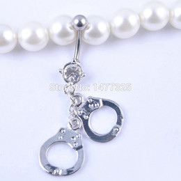 Wholesale Barbell Navel Rings - Wholesale-Fashion Handcuffs Style Rhinestone Navel Belly Button Barbell Ring Body Piercing Gift