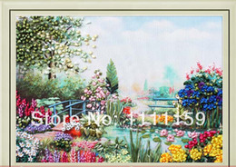 Wholesale Ribbon Embroidery Decoration - Wholesale-Diy Ribbon embroidery painting 80x60cm brillant summer embroidery paintings sets handcraft needlework unfinish decoration