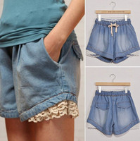 Wholesale Jeans Lace Hot Short - Wholesale-Hot Sales Women Fashion Casual Lace Denim Shorts New Summer Brand New Mid Waist Short Jeans Shorts Women Free Shipping