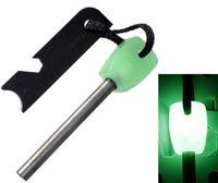Wholesale Outdoor Survival Magnesium - Wholesale-Survival Luminous Magnesium Flint Stone Fire Starter Lighter 8mm Flint Rod And Steel Outdoor Camping Travel Kit Big Size