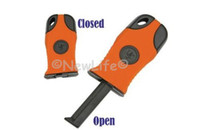 Wholesale Handed Fire Starter - Wholesale-One Hand survival Fire Starter Flint Stone camping lighter with glow in dark compass 1pc