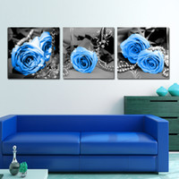 Wholesale Triptych Cross Stitch Kits - Wholesale-The latest 3D cross stitch kit new living room decals Triptych series BLUELOVER Rose Wedding Home Decorations diy