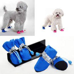 Wholesale Dog Clothes Shoes - Wholesale-Love Dog 4pcs Set Pet Dog Shoes Footwear Rain Boots Dog Clothes Waterproof Rain Shoes 389