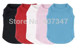 Wholesale Plain Clothes Wholesales - Wholesale-Wholesale Dog Pet Puppy Plain Cotton Blank Shirt Tee Shirt Clothes Apparel clothing for dogs size XS to size XXXL