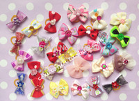 Wholesale Dog Bands - Wholesale-Hot!!! 100 pcs Pet Dog Grooming Accessories Handmade Cat Hair Bow Rubber Bands Pet Supplies mixed colors, free shipping