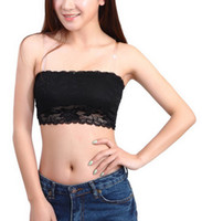 Wholesale Black Push Up Bandeau - Wholesale-Drop Shipping Women's Sexy Lace Casual Crop Boob Tube Top Bandeau Bra Strapless Seamless Solid