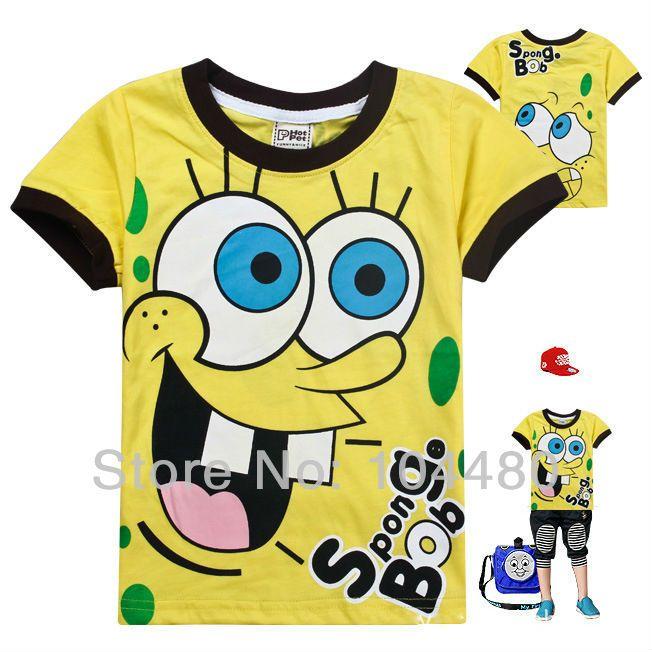 2018 wholesale spongebob boys t shirt short sleeve 2015 summer new