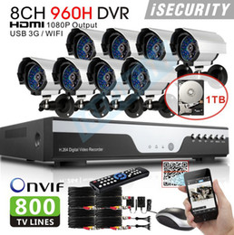 Wholesale H 264 Dvr Cctv Systems - Wholesale-New 8 channel 960h cctv dvr with 800TVL Day and Night Security Camera system h.264 dvr nvr hvr for hikvision ip camera 1TB HDD