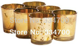 Wholesale Buying Candles Wholesale - Wholesale-HOT! Buy 2 Lots 15% Discount!2.5 inch tall glass mercury votive candle holder in gold USD49.92 for 24pcs each USD2.08 pc