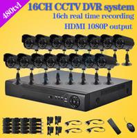 sistema de vigilancia de canales al por mayor-Al por mayor-480TVL CCTV 16pcs al aire libre impermeable Cámaras IR 16ch h.264 DVR grabadora Kit de 16 canales de video de vigilancia de seguridad sistema dvr
