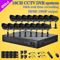 Wholesale Dvr 16 H 264 - Wholesale-480TVL CCTV 16pcs outdoor Waterproof IR Cameras 16ch h.264 DVR recorder Kit 16 channel security video surveillance dvr system