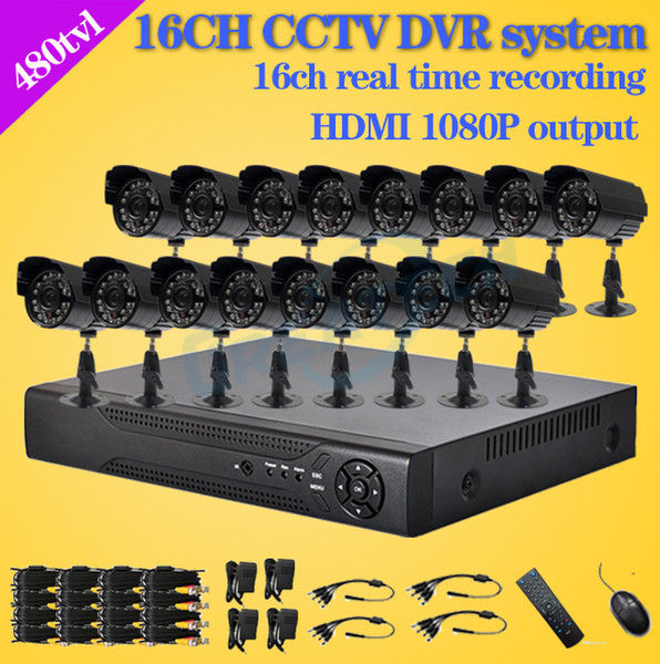 Wholesale-480TVL CCTV 16pcs outdoor Waterproof IR Cameras 16ch h.264 DVR recorder Kit 16 channel security video surveillance dvr system