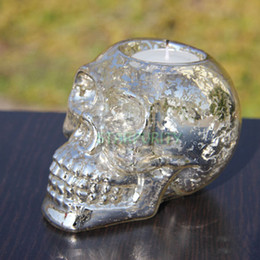 Wholesale Antique Candle Table - Wholesale-Antique Silver Skeleton Skull CandleStick Candle Holder Stand Table Centrepiece Pray Decoration Gift Collectible