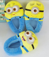 Wholesale Kawaii Cartoon Slippers - Wholesale-Minion despicable me cotton Slippers Funny cartoon kawaii warm slippers in home winter indoor shoes for women men
