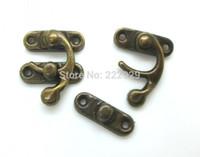 Wholesale Latch Hook Wholesale - Wholesale-Free Shipping-50 Sets Metal Hook Box Latches Clasp Box Lock Purse Lock Antique Bronze 4 Holes 3.3cm x 2.7cm 2.7cm x 0.9cm,D0038