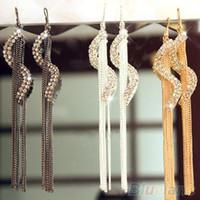 Wholesale Long Earrings Shape - Wholesale-Women's Fashion S-Shape Long Tassels Rhinestone Hook Dangle Linear Earrings 1Q59