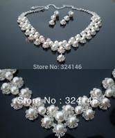 conjuntos de boda de marfil de la joyería al por mayor-Al por mayor-libre del envío 100% marfil perla joyería nupcial conjuntos de joyería de la boda crsytal establece accesorio