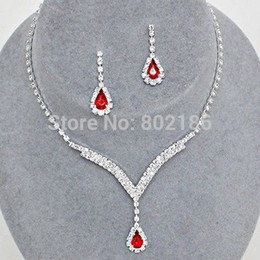 Wholesale Aqua Crystal Necklace - Wholesale-Celebrity Inspired Crystal Tennis Red Ruby Necklace Set Earrings Factory Price Wedding Bridal Bridesmaid Jewelry Sets 14F2AF049