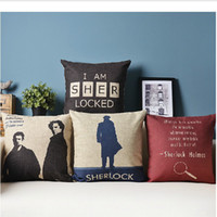 Wholesale cm cm Linen Cotton Detective Sherlock Holmes Navy Beige Throw Pillow Case Cushion Cover New