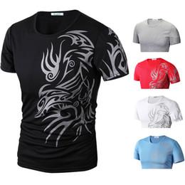 Wholesale Tshirts Brands Xxl - Wholesale-Brand New Tshirts 2015 Dragon Printed Casual Slim Men's Short Sleeve T Shirt Tees Pullover M L XL XXL Camisa Masculine R1404