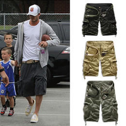 Wholesale Camo Cross - Wholesale-Summer Mens Baggy Camo Cargo Shorts Multipockets Baggy Loose Army Military Khaki Black Camouflage Short Pants For Men AY721