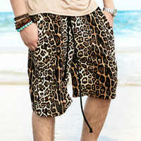 Wholesale Leopard Print Shorts For Men - Wholesale-Fashion Designer Mens Casual Leopard Printed Beach Shorts All Cotton Short Boardshorts for Men Men's Clothes Man Plus Size