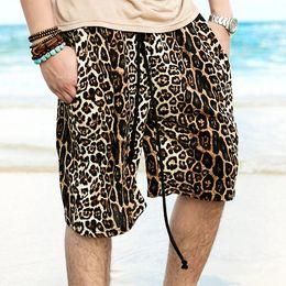 Wholesale Drawstring Leopard - Wholesale-Fashion Designer Mens Casual Leopard Printed Beach Shorts All Cotton Short Boardshorts for Men Men's Clothes Man Plus Size