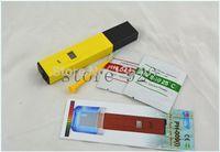 acuario portátil al por mayor-Al por mayor-10pcs / lot Digital PH Meter / Tester 0-14 amarillo portátil Pocket Pen Aquarium meter ph