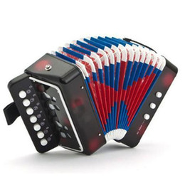 Wholesale Toy Piano Accordion - Wholesale-New Kids Instrument Music Accordion Button Piano Toys Great Gift Kids Black 19069