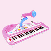 Wholesale Kids Piano Microphone - Wholesale-Baby Kids Children's Cartoon Electronic Piano Toys Children Piano with Microphone Learning & Education Toy Musical