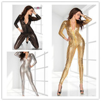Wholesale Dance Rompers - Wholesale-Hollow Out Jumpsuits Women Rompers Clubwear Sexy Jumpsuits Performance Reflective Clothes Night Club Dance Gold Silver Black
