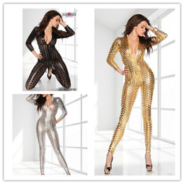 Wholesale Clothing Sexy Clubwear - Wholesale-Hollow Out Jumpsuits Women Rompers Clubwear Sexy Jumpsuits Performance Reflective Clothes Night Club Dance Gold Silver Black
