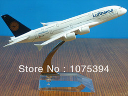 Wholesale Airlines Metal - Wholesale-New Lufthansa Airline Airbus A380-800 Passenger Airplane Plane Aircraft Metal Diecast Model Collection Free Shipping