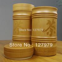Wholesale Bamboo Tea Caddy - Wholesale-Do Promotion!!! Natural Bamboo tea bucket, bamboo tea caddy, about 15*7.5cm , jar, wholesale!