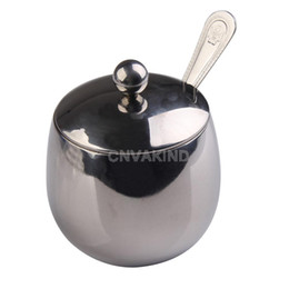 Wholesale Stainless Sugar Bowls - Wholesale-#Cu3 New Stainless Steel Drum Shape Coffee Shop Espresso Sugar Bowl 300ML