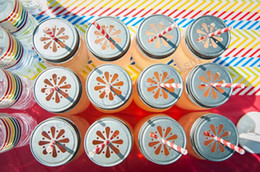 mason jar glasses wholesale Australia - Wholesale-50 Daisy Cut Mason Jar Lids , mason jars and straws are NOT included ,Metal Kids Drinking glass Lids for Straws wholesale