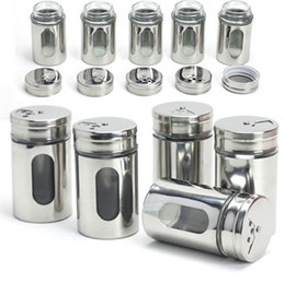 Wholesale Stainless Steel Sugar Bowls - Wholesale-Kitchen supplies stainless steel cruet sealed glass spice jar rotating pepper seasoning box spice cooking tools sugar bowl