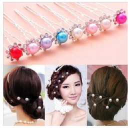 Wholesale Tool Makers Clamp - Wholesale-TS 20 pcs flower full rhinestone hair stick hairpin Gentlewomen u shaped clamp hair tools accessory maker