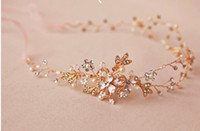 Wholesale-Luxury Handmade Band Double or Blossom Hair Vine mariage strass Bandeau nuptiale