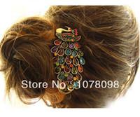 ingrosso forcelle antiche-Accessori per capelli all'ingrosso per le donne Nuovo colorato Vintage Retro Antique Crystal Peacock Hairpin B4.50 2015 HOT