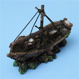 Wholesale antique ship sinks - Wholesale-Fish Tank Decoration Cave Sailing Boat Shipwreck Aquarium Sunk Antique Ship