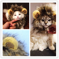 Wholesale Dogs Dress Up Costume - Wholesale-Dog cat Lion Mane Wig puppy kitten cosplay hairwear hats Halloween Costume Fancy Dress Up with Ears