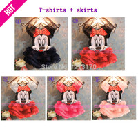 Wholesale Summer Hood Set - Letty Baby Summer Children Baby Girls Dress Boys Mickey Minnie Mouse Clothing Sets Kids Clothes Cotton Lovely Minnie Outfits A14001