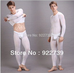 Wholesale Long Johns Hot - Wholesale-Hot !Menview Mens Sexy Transparent Thermal underwears (doublet +pants   leggings) Long johns for gay 6 colours Freeshipping