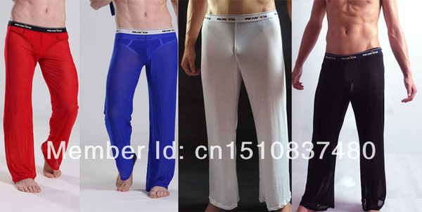 best selling Wholesale-mens long johns man male sexy underwear men gay transparent mesh see-through penis long pants trousers gym sports long johns