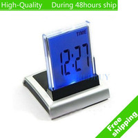Wholesale Cpam Alarm Clock - Wholesale-High Quality 7 LED Color Colour Digital ALARM CLOCK THERMOMETER TEMP Free shipping DHL UPS EMS HKPAM CPAM